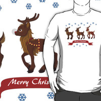 Three Reindeer and Snowflakes