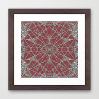 Snowflake Red Framed Art Print by Project M