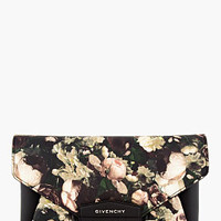 BLACK & BEIGE ROSE PRINT ANTIGONA ENVELOPE CLUTCH