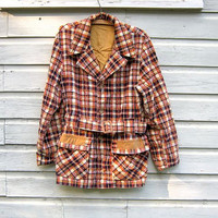 70s plaid fall coat. belted barn coat.