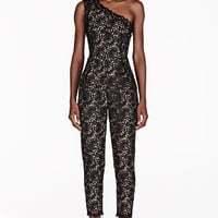 BLACK ONE SHOULER LACE OVERLAY JUMPSUIT