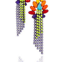 Tom Binns Riri rhodium-plated Swarovski crystal earrings – 60% at THE OUTNET.COM
