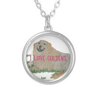 I Love Goldens Necklace for Golden Retriever Lover