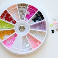 Bow Bows Pearl Nail Art Stone Wheel Rhinestones Beads