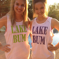 Lake Bum neon frat tank printed on Comfort Colors tank tops.