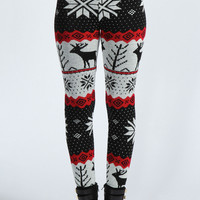Renalie Reindeer Knit Leggings