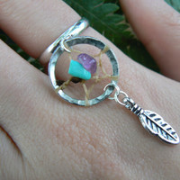 turquoise and amethyst dreamcatcher ring in boho gypsy hippie hipster native american and tribal style