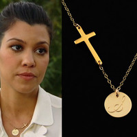 Cross Initial Necklace, Personalized Monogram Necklace, 14k Gold Initial Necklace, Celebrity Style, Name, Custom Letter, Monogrammed