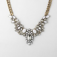 Crystal and White Gem Bib Choker Necklace