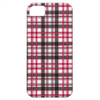 Black, Red and White Geometric Tartan