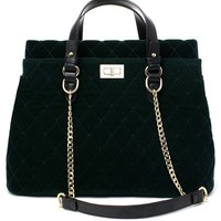 Velvet Quilted Chain Bag in Green