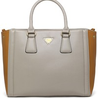 Contrast Two-Tone Tote Bag in Beige