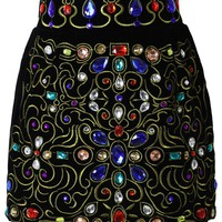 Baroque Crystal Embellished Velvet Skirt in Black