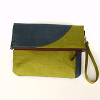 Linen Fold over Clutch - Moss Green and Gray Foldover Bag -Zippered Gray, Moss Green, Brown Clutch -Autumn Oversized Clutch, Pouch, Purse