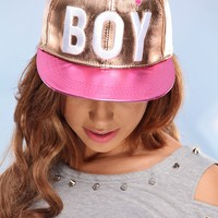 METALLIC ROSE GOLD PINK BILL BOY GIRL SNAP BACK HAT
