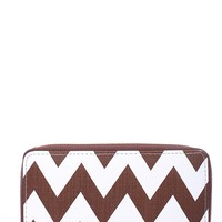 BROWN WHITE ZIG ZAG PRINT SHINY FAUX PLEATHER ZIPPER LARGE WALLET
