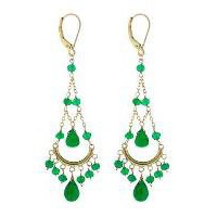 Jewelmak 14K Gold Green Onyx chalcedony and Green Onyx Chandelier Earrings - Jewelry | Portero Luxury