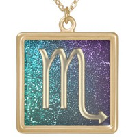 Turquoise Purple Gold Scorpio Zodiac Sign Necklace