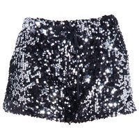 ROMWE | ROMWE Smoky Gray Sequined Shorts, The Latest Street Fashion