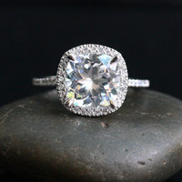 Single Halo 14k White Gold 9mm White Topaz Cushion and Diamonds Wedding or Engagement Ring (Choose color and size options at checkout)