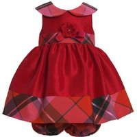 Red Metallic Plaid and Iridescent Shantung Collar Dres RD1MT Bonnie Jean Baby-Infant Special Occasion Flower Girl Holiday BNJ Social Dress, Red