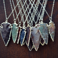 ARROWHEAD NECKLACES /// Electroformed Gemstone Arrowhead /// Silver