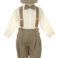 Vintage Dress Suit-Bowtie,Suspenders,Knickers Outfit Set-Boys Brown Plaid