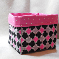 Lovely Pink, Black and Gray Fabric Basket