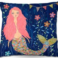 Decorative Woven Couch / Throw Pillow from DiaNoche Designs by Sascalia Home Unique Bedroom, Living Room and Bathroom Ideas Pink Mermaid