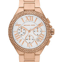 Michael Kors Watch, Women's Chronograph Camille Rose Gold-Tone Stainless Steel Bracelet 43mm MK5636