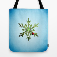 Winter Holidays Pine Snowflake Tote Bag by Boriana Giormova