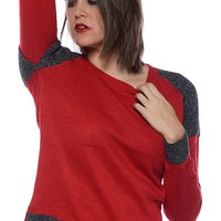 Glitter with Glee Glitter Trim Pullover Sweater - Red