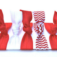 Christmas Hair Ties - Red & White No Crease Hair Ties - Yoga Hair Elastics - Stretchy Fabric Bracelet - Chevron Hair Accessories - Headbands