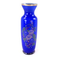 "8"" Tall  Blue Floral Glass Vase"