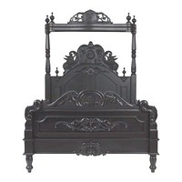 REGAL French Louis XV Black QUEEN Size Bed Solid Wood- Affordable Luxury!