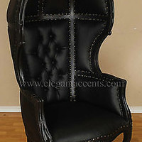 Black Finish Porter Chair - Balloon, Bonnet, Canopy, Dome, Egg Shape, Gothic