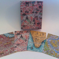 NEW Paris, New York, Rome & London Boxed 20 Notecards & Envelopes