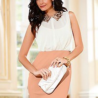 Beige (BE) Sequin Collar Dress