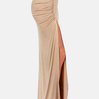 Ruche to Conclusions Beige Maxi Skirt