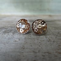 Light Gold Tiny Flower Post Earrings 10mm sterling silver