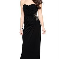 Strapless Long Dress with Open Back with Multi Bar Details and Stones