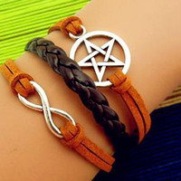 Charm Bracelet 263: Leather Braid Pentagram Bracelet, Infinity Wish Love Bracelet