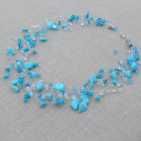 Blue Necklace. Wedding Necklace.Bridesmaid Necklace. Beadwork. Multistrand Necklace.