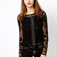 River Island Long Sleeve Embellished Mesh Top