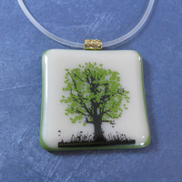 Tree of Life Necklace, Fused Glass Jewelry, Olive Green, Cream - Tree of Strength - 4308 -1