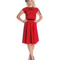 (PRE-ORDER) Red & Black Polka Dot Cap Sleeve Noreen Dress