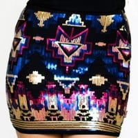 Midnight Aztec Sequin Skirt
