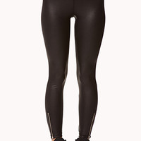 Zippered Faux Leather Leggings