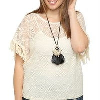 plus short sleeve crochet poncho with elastic bottom and fringe sleeves