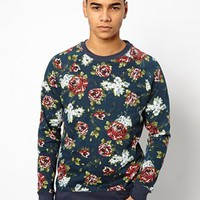 Native Youth Rose Blossom Print Sweatshirt